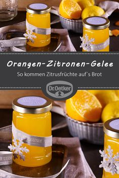 Orangen-Zitronen-Gelee Orange and lemon jelly: Citrus fruits come on the bread – Fall Dinner Recipes, Fall Recipes, Healthy Eating Tips, Healthy Nutrition, Cooking Jam, Homemade Crackers, Oranges And Lemons, Vegetable Drinks, Coleslaw