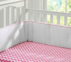 Harper Chevron Stripe Crib Sheeting #PotteryBarnKids (for aqua and hot pink girl nursery)