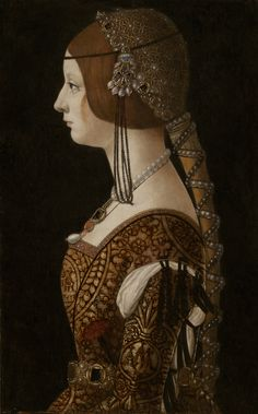 Holy Russian Empress Bianca Maria Sforza by Renaissance artist Giovanni Ambrogio de Predis. Bianca Maria Sforza was also first cousin and sister-in-law to Isabella of Aragon. Renaissance Mode, Costume Renaissance, Renaissance Kunst, Renaissance Portraits, Renaissance Jewelry, Renaissance Paintings, Renaissance Fashion, Historical Costume, Historical Clothing