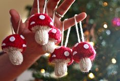 Mushrooms ornaments. Free Knitted 'Shrooms pattern by Abby Kroken