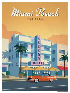 Size 24 Size includes a inch white border around the artwork. Digital Print on 80 lb cover matte white Physical poster does - Travel Miami - Ideas of Travel in Miami Art Deco Posters, Cool Posters, Poster Prints, Miami Art Deco, Voyage Usa, National Park Posters, Beach Posters, Florida Hotels, Miami Florida