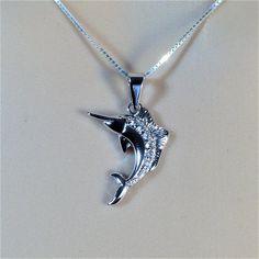 "Sterling Silver Clear CZ Swordfish Pendant Necklace, 18"""