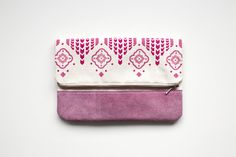 Moroccan Pattern Printed  Leather Pouch No. ZP804 by CORIUMI, $56.00
