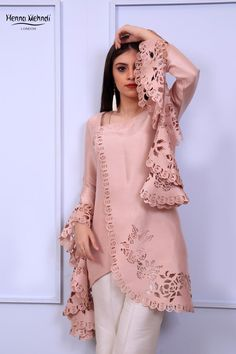 Tea pink chiffon georgette double layered top with pearl embroidered neckline and cuff styling on sleeves. Beautiful Pakistani Dresses, Pakistani Dress Design, Indian Dresses, Pakistani Fashion Casual, Pakistani Outfits, Pakistani Clothing, Kurti Neck Designs, Kurta Designs Women, Stylish Dresses