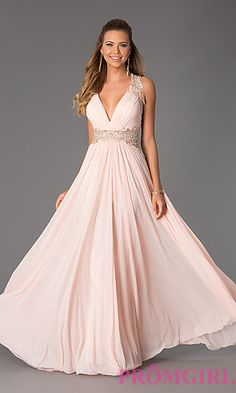Floor Length V-Neck Open Back JVN by Jovani Dress at PromGirl.com