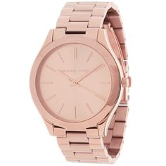 This classic timepiece by Michael Kors features a stainless steel case and bracelet. A rose gold tone dial, precise quartz movement and a water-resistance level of up to 50 meters finish this fine timepiece.