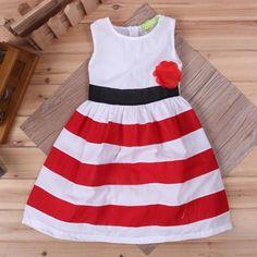 Wholesale belt dress lolita style casual brief   girl dress striped dresses