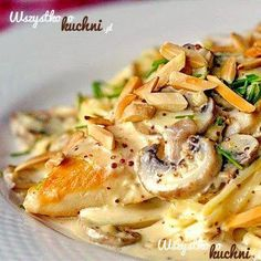 Rock Recipes -The Best Food Photos from my St.: Dijon Chicken Linguine with Chanterelle Mushrooms and Toasted Almonds yummy-dinners Think Food, I Love Food, Good Food, Yummy Food, Fun Food, Chicken Recipes, Pasta Recipes, Dinner Recipes, Cooking Recipes