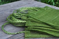 Gift Bag Giveaway. Cute little green gift bags made with 100% sinamay.