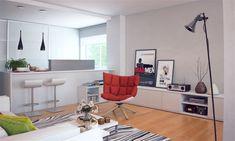 White kitchen red chair
