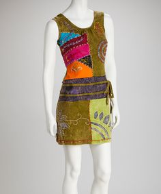 Take a look at this Green Embroidered Patchwork Sleeveless Dress on zulily today!