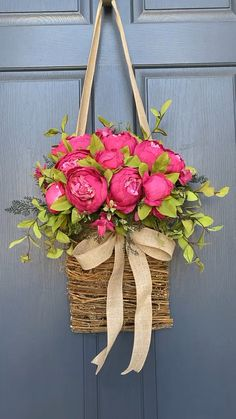 Our gorgeous peony basket creates a stunning welcome for all who enter your home. Perfect for spring and summer.
