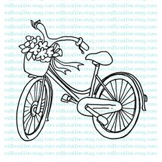 line drawing / embroidery Digital Stamp Antique Bicycle with Flower Basket Hand Embroidery Designs, Vintage Embroidery, Cross Stitch Embroidery, Embroidery Patterns, Digi Stamps, Blackwork, Hand Stitching, Coloring Pages, Colouring