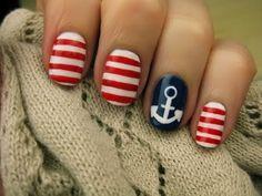 Nautical Nail Art! #nails #nailart Create this look with red and blue nail polish and for the strips and anchors use a Sally Hansen nail art pen;) -TipsbyTori