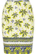 Prabal Gurung Pale-gray, chartreuse and navy printed cotton-blend  Back vent, fully lined