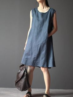 dark blue linen dress one piece summer dress Simple Dresses, Casual Dresses, Summer Dresses, Linen Dresses, Cotton Dresses, Dress Outfits, Fashion Dresses, Rajputi Dress, One Piece Dress