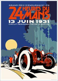 Art Deco Alfa Romeo Le Mans poster.                                                                                                                                                                                 More