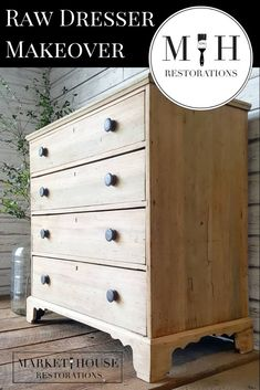 How To Get This Look Raw Dresser Makeover Market House Restorations How To Get This Look Raw Dresser Makeover Market House Restorations Market House Restorations markethouserestorations Interior How To Get nbsp hellip dresser makeover Raw Wood Furniture, Stripping Furniture, Do It Yourself Furniture, Furniture Repair, Refurbished Furniture, Farmhouse Furniture, Paint Furniture, Repurposed Furniture, Furniture Projects