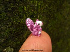Sweet Tiny Squirrel - Puple Squirrel Miniature - Micro Crochet Squirrel - Made to Order- via Etsy.