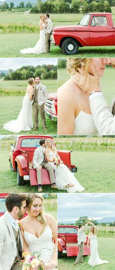 Emily Sacra Photography   Rustic Wedding at Faithbrooke Barn & Vineyard in Luray Virginia   The Hotel Laurance   Blake & Jessica   Red Ford Truck Luray Virginia, Rustic Wedding, Wedding Day, Little Red, Perfect Wedding, Vineyard, Truck, Ford, Couples