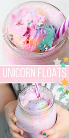 Kids' Kitchen Unicorn Ice Cream Float ⋆ Sugar, Spice and Glitter A magical recipe for kids, this Unicorn Ice Cream Float is a fun unicorn drink recipe perfect for a unicorn party or family movie night Yummy Treats, Delicious Desserts, Sweet Treats, Dessert Recipes, Unicorn Ice Cream, Ice Cream Floats, Kid Drinks, Summer Drinks Kids, Beverages