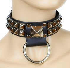 "Pyramid Stud O Ring Heavy Metal Choker 1"" Alternative Clothing Deathrock Collar"