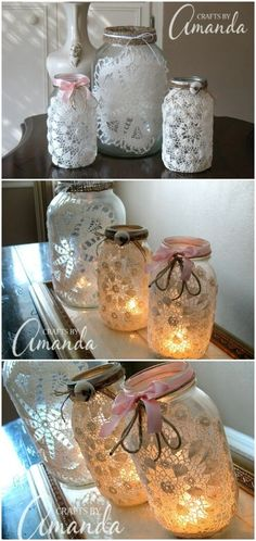 Lace Jar Candles 30 Charming Vintage DIY Projects for Timeless and Classic Decor Wine Bottle Crafts, Mason Jar Crafts, Christmas Mason Jars, Christmas Crafts, Lace Mason Jars, Diy Crafts Vintage, Doilies Crafts, Creation Deco, Diy Weihnachten