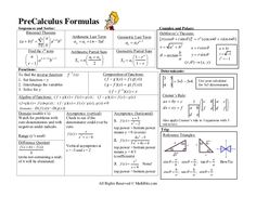 PreCalculus Formulas Sequences and Series.
