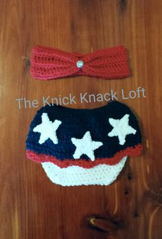 Patriotic Fourth Of July Baby Girl Newborn Photo Prop Crochet Preemie This little patriotic newborn prop set is perfect for any photo session in July or for anyone who is in our armed forces. It would make a great piece in a milestone session, as a pregnant announcement piece or as a one of a kind gift. Set Includes: Patriotic Fourth Of July Diaper Cover Skirt Red Bandeau Top with Jeweled Center Bandeau is slightly adjustable in the back when using the attached button Bandeau Width. Measured…