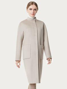 Пальто женское демисезонное цвет бежевый, Пальтовая ткань, артикул 1018950p10005