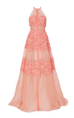 Floral Lace Gown by Lela Rose for Preorder on Moda Operandi