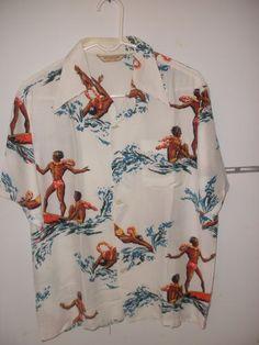 Vintage McGregor Rayon Hawaiian Shirt Surfer Dudes Hawaii Shirt M to L | eBay