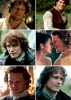 """""""See chameleon, laying there in the sun, all things to everyone, run, run away!""""  The many faces of Jamie, played brilliantly by Sam Heughan."""