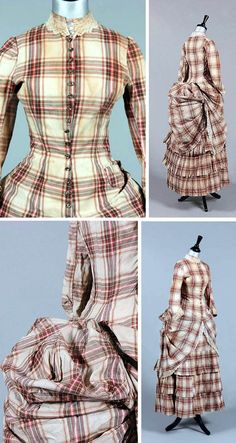 Summer dress, ca. 1875. Tartan cotton in princess cut. Mother of pearl buttons, integral pleated skirt, overskirt that is caught in polonaised bustle. Watch pocket at one hip. Kerry Taylor Auctions/Invaluable
