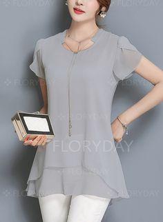 Blouses - $20.82 - Solid Elegant Cotton Short Sleeve Blouses (1645142060)