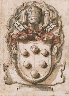 Targa con le armi di Leone XI (Alessandro de' Medici), 1710 circa
