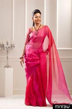 Vibrant shaded silk Kota saree with a thin zari border Pink silk brocade