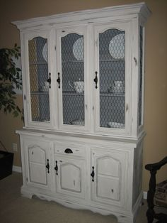 gray distressed china cabinet