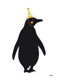 Le Pingouin  Póster El Pingüino A2 / Negro & por LeLoupStudio