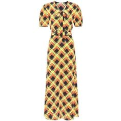 Miu Miu Printed Silk Maxi Dress ($2,785) ❤ liked on Polyvore featuring dresses, multicoloured, colorful dresses, multi colored dress, miu miu, maxi length dresses and orange dress