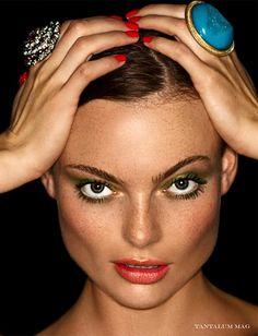 Orangy lips + olive eyeshadow = La Feline Kaet by Courtney Dailey