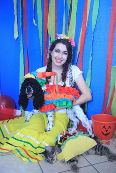 Pets and me Halloween costumes  Halloween costume for dog and cat at Petco. Petco has a Halloween costume contest and I had to enter!!! Dog costume for Halloween and cat costume for Halloween. Funny Mexican fiesta theme. Spanish Mexican wedding dress, piñata, and taco cat costume.