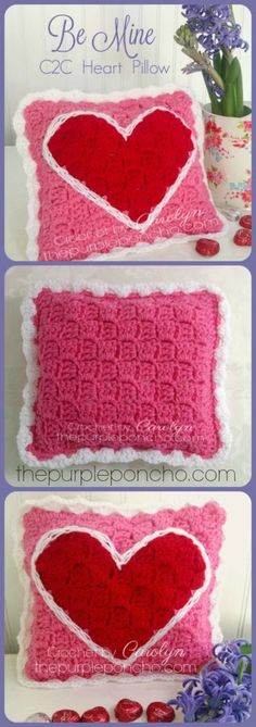 Be Mine C2C Heart Pillow – Free Crochet Pattern by The Purple Poncho