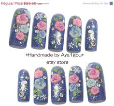 ON SALE Prom rave photo shoot Japanese nail art 3D by Aya1gou, $21.15