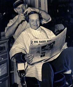 Amelia Earhart visits her hometown Chicago and gets a haircut while reading the Trib, 1937, Chicago.Earhart would disappear forever just a few months later on her final flight (Chicago Tribune Archives).