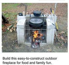 Concrete block grill