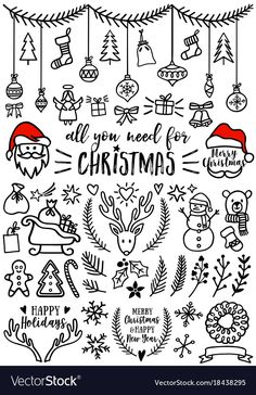 Hand drawn Christmas doodles for cards, banners, set of vector design elements. Download a Free Preview or High Quality Adobe Illustrator Ai, EPS, PDF and High Resolution JPEG versions.