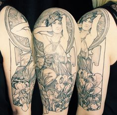 "My ""Amethyst"" by Alphonse Mucha half sleeve is finished! Tattoo by Ariel Cafarelli."