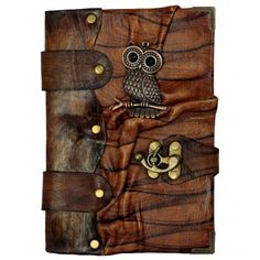 Big Eyes Owl Pendant on a Brown Leather Journal / Notebook /Notepad / Diary / Sketchbook / Handmade / Book / Chamois Paper / Women /Men / Children / Office Product