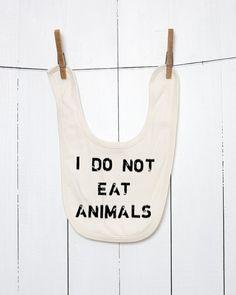 I Do Not Eat Animals Organic Baby Bib Vegan Baby by VeganeseTees